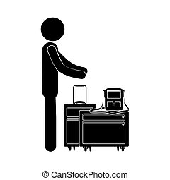 αποσκευές , πρόσωπο , περίγραμμα , μαύρο