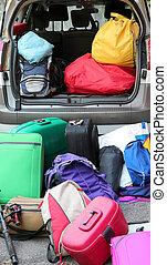 αποσκευέs , αυτοκίνητο , γίνομαι , έτοιμος , διακοπές , γεμάτος