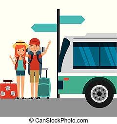 αποσκευέs , λεωφορείο , ζευγάρι , σταματώ , περιηγητής , ευτυχισμένος