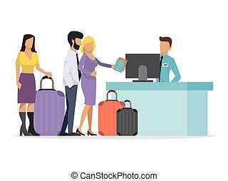 αποσκευέs , ουρά , αερογραμμή , μικροβιοφορέας , illustration., queueing, άνθρωποι , μεγάλος , αναχώρηση , αεροπορική γραμμή , αεροδρόμιο. , διαφορετικός