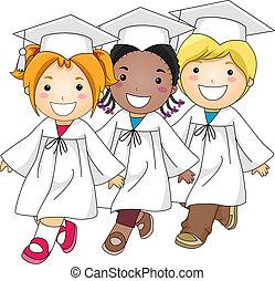αποφοίτηση , βαδίζω