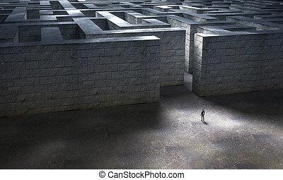 απόδοση , άντραs , 3d , πελώρια , ακάθιστος , maze., πέτρα , είσοδοs