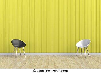 απόδοση , δωμάτιο , καρέκλα , κίτρινο , 3d