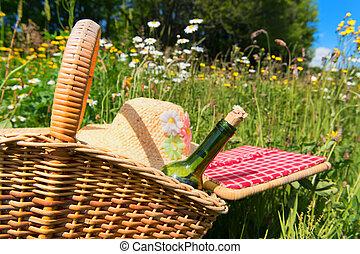 απόλαυση καλάθι , μέσα , καλοκαίρι , λουλούδι , πεδίο