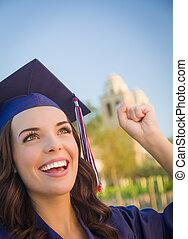 απόφοιτος , εσθής , γυναίκα , σκούφοs , αγώνας , ανακάτεψα , ευτυχισμένος