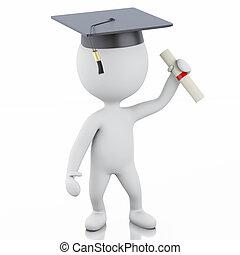 απόφοιτοs , άνθρωποι , σκούφοs , αποφοίτηση , πτυχίο , 3d , άσπρο