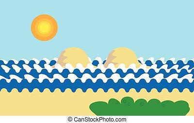 από κάτω αντίκρυσμα του θηράματος , ήλιοs , ή , γελοιογραφία , νησί , ουρανόs , βουνό , μπλε , ορίζοντας , ημέρα , δέντρο , πράσινο , ανεμίζω , γρασίδι , θάλασσα