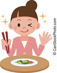 από λαχανικά stir-fry , γυναίκα απολαμβάνω