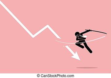 απώλεια , κόβω , επενδυτής , trader., ή