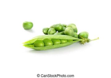 αρακάς , πράσινο , απομονωμένος , closeup , λαχανικό , φρέσκος , άσπρο