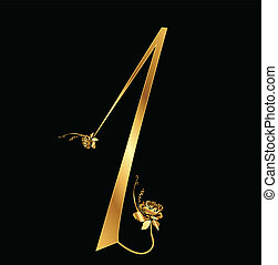 αριθμητική 1 , χρυσός , με , τριαντάφυλλο