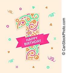 αριθμητική 1 , 1 , γενέθλια , έτος , ευτυχισμένος , κάρτα , χαιρετισμός