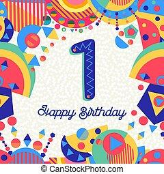 αριθμητική 1 , 1 , γενέθλια , έτος , πάρτυ , κάρτα , χαιρετισμός