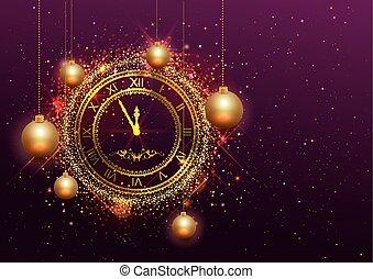 αριθμητικό , χρυσός , ρολόι , παραμονή , ρωμαϊκός , έτος , καινούργιος