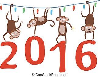 αριθμός , μαϊμού , γιρλάντα , μικροβιοφορέας , κράτημα , απαγχόνιση , αγγίζω αδέξια ή χωρίς άδεια , 2016., xριστούγεννα , illustration.