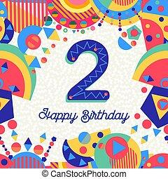 αριθμόs , γενέθλια , δυο , 2 , έτος , πάρτυ , κάρτα , χαιρετισμός