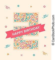 αριθμόs , γραφικός , δυο , γενέθλια , χαιρετισμός , 2 , έτος , κάρτα , ευτυχισμένος