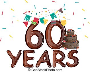 αριθμόs , χαιρετισμός , 60 , γενέθλια αγγελία , ευτυχισμένος