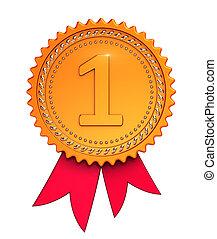 αριθμόs , one1, πρωτείο , 1st , βραβείο , ταινία , μετάλλιο , χρυσαφένιος , κόκκινο