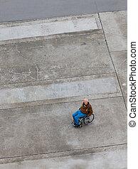 αριστερά , μέσα , ένα , αναπηρική καρέκλα