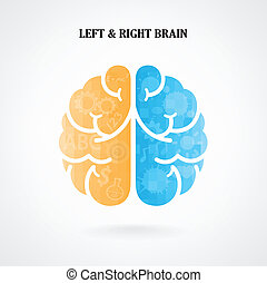 αριστερά , σύμβολο , δημιουργικός , εγκέφαλοs , σωστό