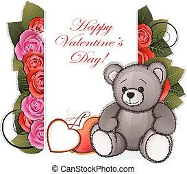 αρκουδάκι , με , τριαντάφυλλο
