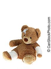 αρκούδα , με , επίδεσμοs , μετά , ένα , ατύχημα