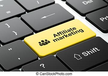 αρμοδιότητα ακόλουθοι , διαφήμιση , ηλεκτρονικός υπολογιστής , affiliate, φόντο , πληκτρολόγιο , concept: