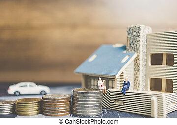 αρμοδιότητα ακόλουθοι , χρήματα , concept., κέρματα , μινιατούρα , ανάπτυξη , κάθονται , home., επένδυση