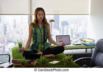 αρμοδιότητα γυναίκα , έργο , γιόγκα , σκέψη , επάνω , τραπέζι , μέσα , office-2