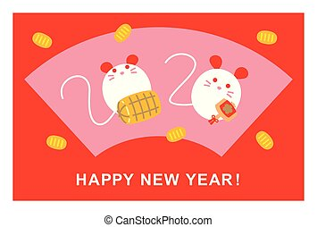 αρουραίος , σχεδιάζω , καινούργιος , γιαπωνέζοs , year`s, έτος , ποντίκι , 2020, κάρτα