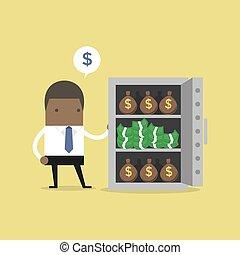 αρπάζω , αβλαβήσ. , χρήματα , δολλάρια , λώτ , αφρικανός , επιχειρηματίας , θημωνιά