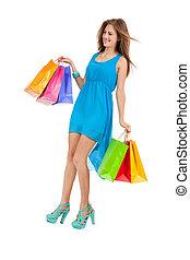 αρπάζω , γυναίκα αγοράζω από καταστήματα , γραφικός , νέος , απομονωμένος , ελκυστικός