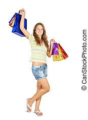 αρπάζω , κορίτσι , ψώνια , κράτημα