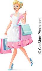 αρπάζω , περίπατος , ψώνια , illustration., εκδήλωση , νοικοκυρά , μικροβιοφορέας , χαμογελαστά , ok.