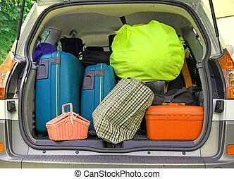αρπάζω , πολοί , αυτοκίνητο , βαλίτσα