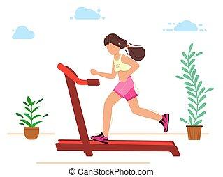 αρραβωνιασμένος , τρέξιμο , treadmill., αθλητισμός , κορίτσι