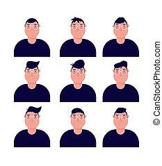 αρσενικό , ρυθμός , άντραs , μικροβιοφορέας , εικόνα , γενειοφόρος , χαρακτήρας , emotions., του προσώπου , θέτω , γελοιογραφία , διαφορετικός , expressions., emoji
