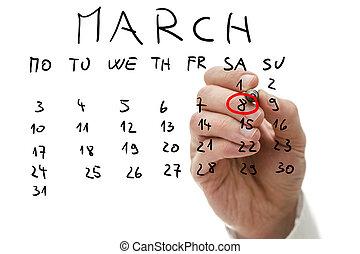 αρσενικό , χέρι , βαθμολόγηση , επάνω , ημερολόγιο , ο , ημερομηνία , από , βαδίζω , 8