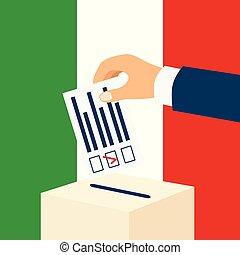 αρσενικό , italy., χέρι , χαρτί , ακουμπώ , εκλογή , ψηφοφορία