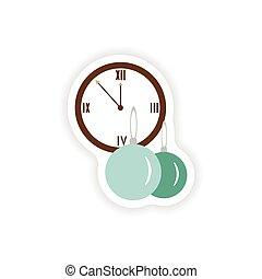 αρχίδια , ρολόι , αυτοκόλλητη ετικέτα , χαρτί , φόντο , μοντέρνος , αγαθός διακοπές χριστουγέννων
