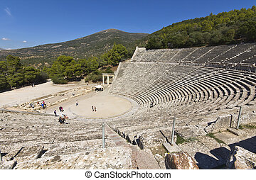αρχαίος , αμφιθέατρο , από , epidaurus , σε , πελοπόννησος , ελλάδα