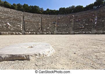 αρχαίος , αμφιθέατρο , από , epidaurus , σε , peloponisos, ελλάδα