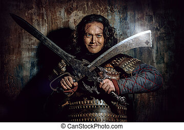 αρχαίος , αρσενικό , πολεμιστής , μέσα , θωράκιση , κράτημα , sword., ιστορικός , character., fantasy.