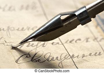 αρχαίος , γράμμα , και , μελάνι , feath