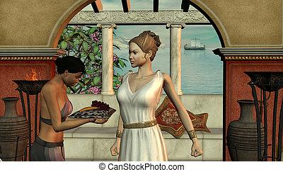 αρχαίος , σκηνή , από , γυναίκα , και , κορίτσι
