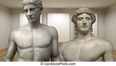 αρχαίος , scultures, δωμάτιο , γκαλερί , ελληνικά , άγαλμα , αδειάζω , 3d