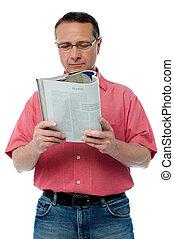 αρχαιότερος , βιβλίο , διάβασμα , άντραs , ανέμελος