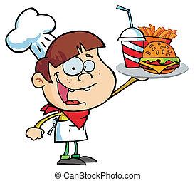 αρχιμάγειρας , αγόρι , χάμπουργκερ , πάνω , κράτημα