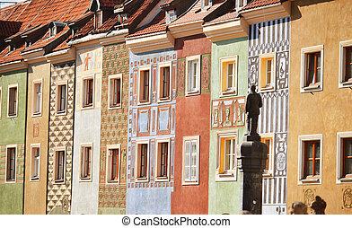 αρχιτεκτονική , από , γριά , αγορά , μέσα , poznan, πολωνία
